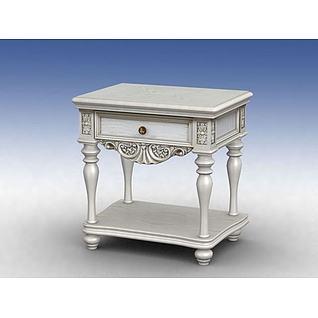 白色欧式床头柜3d模型