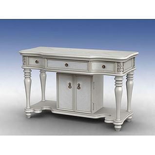 简欧白色梳妆柜3d模型