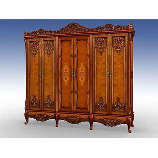 古典雕花实木衣柜3d模型
