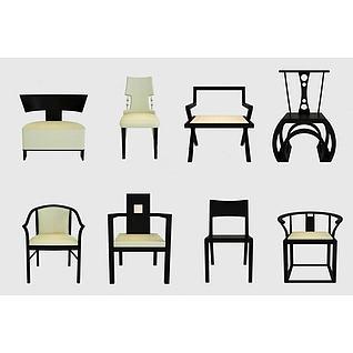 新中式单椅集合3d模型