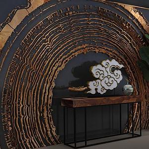 朽木背景墙玄关台组合模型