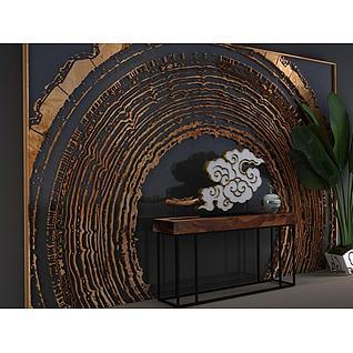 朽木背景墙玄关台组合3d模型