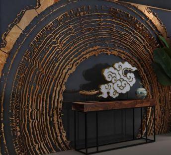 朽木背景墙玄关台组合