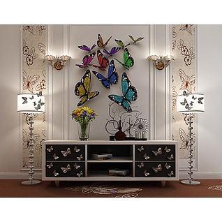 蝴蝶柜落地灯组合3d模型