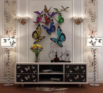蝴蝶柜落地灯组合