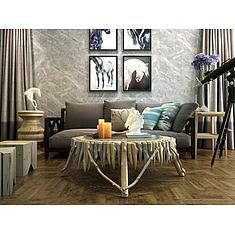 北欧朽木条茶几沙发组合3D模型3d模型