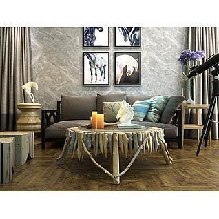 北欧朽木条茶几沙发组合3d模型