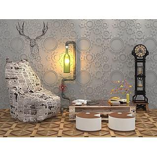 loft复古齿轮背景墙报纸椅子组合3d模型