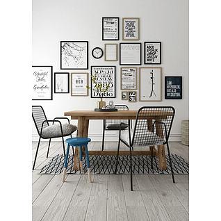 现代木餐桌铁艺网格椅组合3d模型