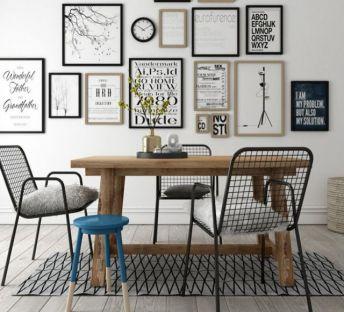 现代木餐桌铁艺网格椅组合
