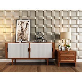现代木质边柜软包背景墙3d模型