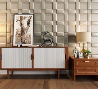 现代木质边柜软包背景墙