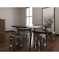 工业风餐桌椅组合3D模型3d模型