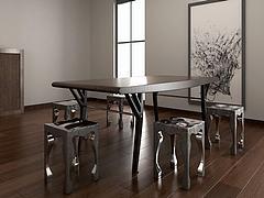 工业风餐桌椅组合模型3d模型