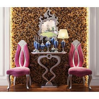 后现代玄关台古典椅子组合3d模型