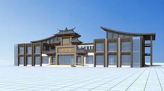 特色会所建筑模型3d模型