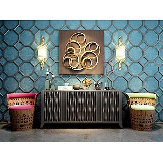 东南亚风格柜子壁灯墙饰品组合3d模型