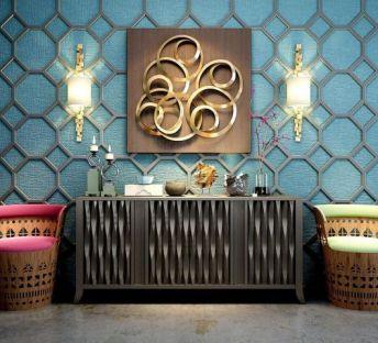 东南亚风格柜子壁灯墙饰品组合