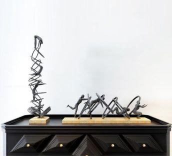 北欧边柜运动人物雕塑摆件