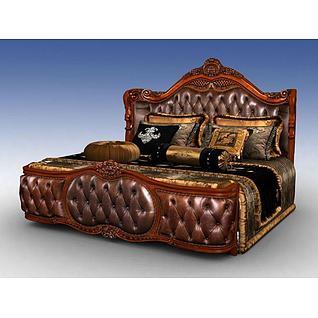 美式豪华大床3d模型