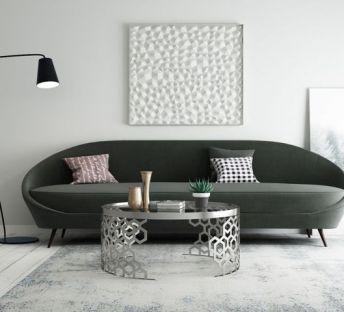 现代北欧多人沙发边几组合