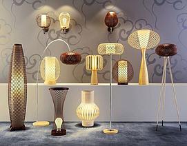 艺术竹篾灯具模型