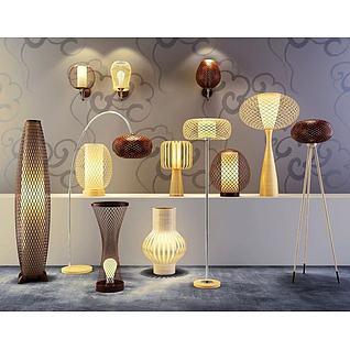 艺术竹篾灯具3d模型