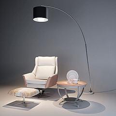 单人沙发椅落地灯组合模型3d模型