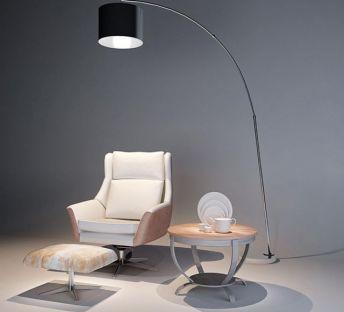 单人沙发椅落地灯组合