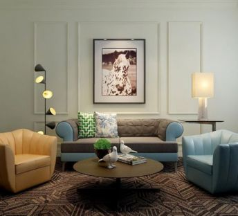 现代双色沙发台灯组合