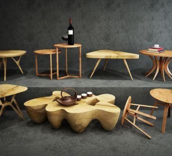 现代中式茶几木桌组合