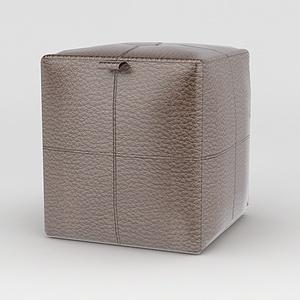 皮艺沙发凳模型