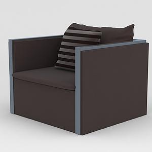 咖色单人沙发模型