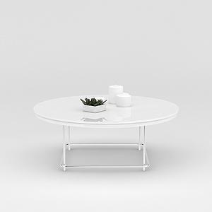白色圆形休闲桌模型