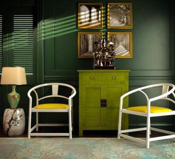 新中式椅子边柜组合