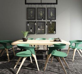 现代餐桌椅吊灯组合