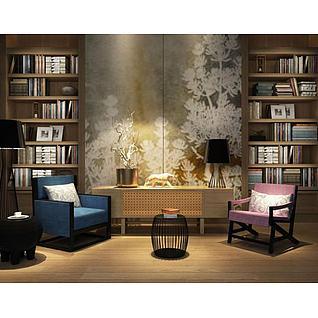 现代书架座椅组合3d模型