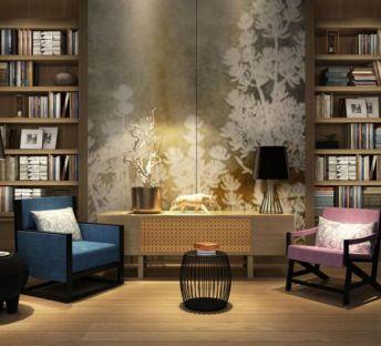 现代书架座椅组合