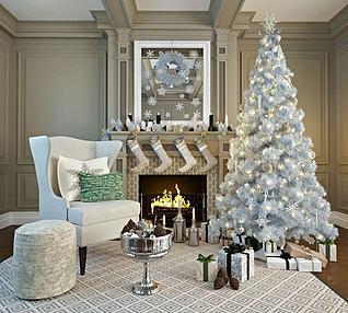 圣诞树壁炉组合3d模型