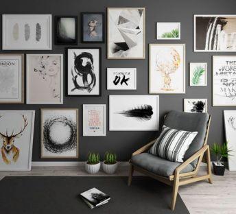 现代照片墙休闲椅组合