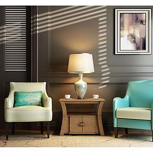 3d北欧现代沙发椅子角几组合模型