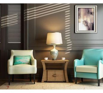 北欧现代沙发椅子角几组合