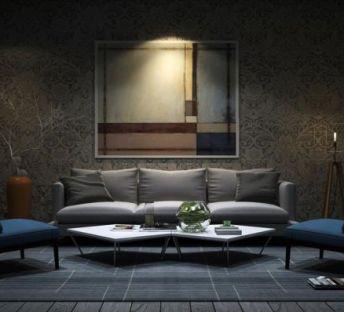现代沙发椅干枝花艺组合
