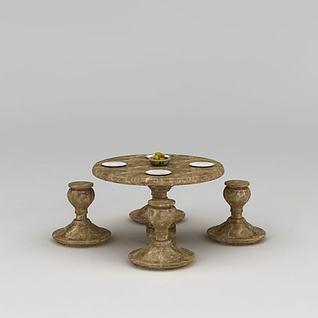 室外石质桌椅3d模型