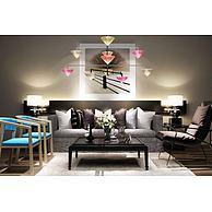 现代沙发椅子彩色吊灯组合3D模型3d模型