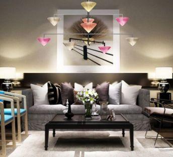 现代沙发椅子彩色吊灯组合