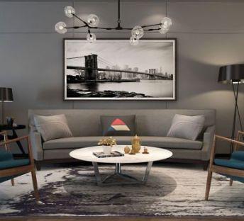 现代沙发单人椅组合