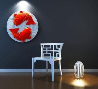 中式椅子金鱼墙饰组合