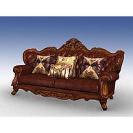 美式三人沙发3D模型3d模型