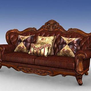美式三人沙发3d模型